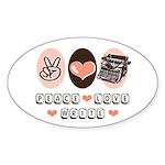 Peace Love Write Writer Oval Sticker (10 pk)