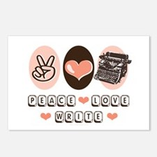 Peace Love Write Writer Postcards (Package of 8)