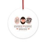 Peace Love Write Writer Ornament (Round)