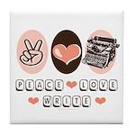 Peace Love Write Writer Tile Coaster