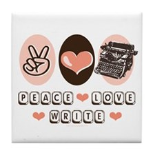 Peace Love Write Writer Tile Coaster