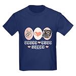 Peace Love Write Writer Kids Dark T-Shirt