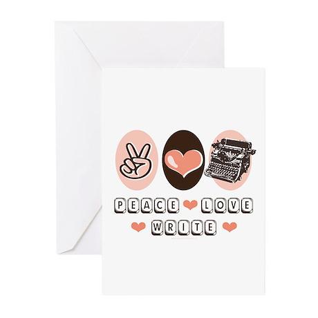 Peace Love Write Writer Greeting Cards (Pk of 10)