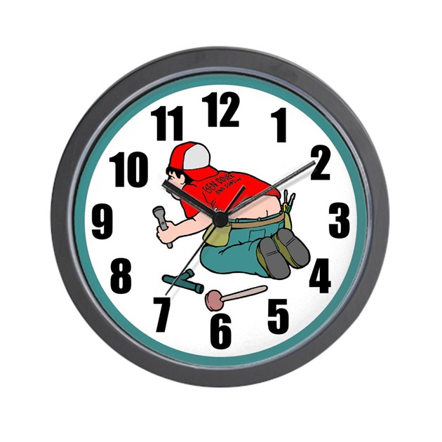 Funny Plumber Wall Clock By Cowpiecreek