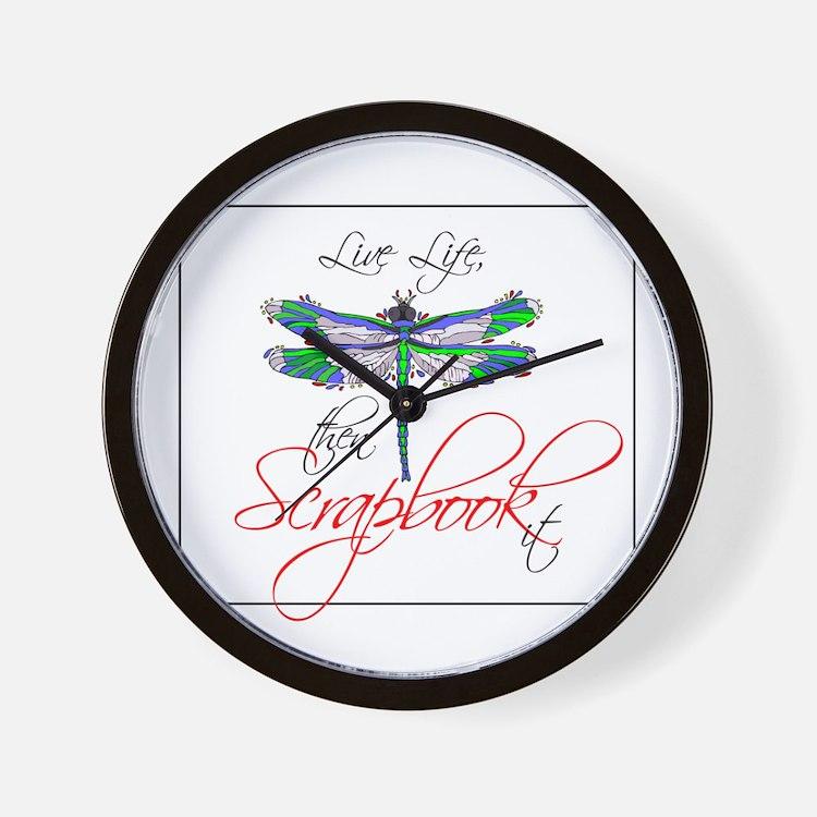 Live Life, Scrapbook It Wall Clock