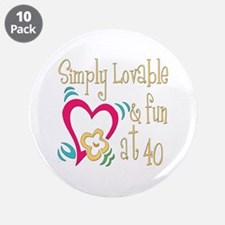 "Lovable 40th 3.5"" Button (10 pack)"