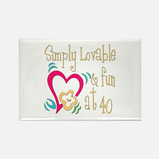 Lovable 40th Rectangle Magnet