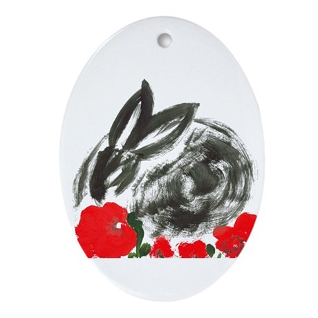 red flower blanket Oval Ornament