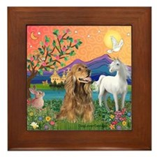 Fantasy Land/Cocker (brn) Framed Tile