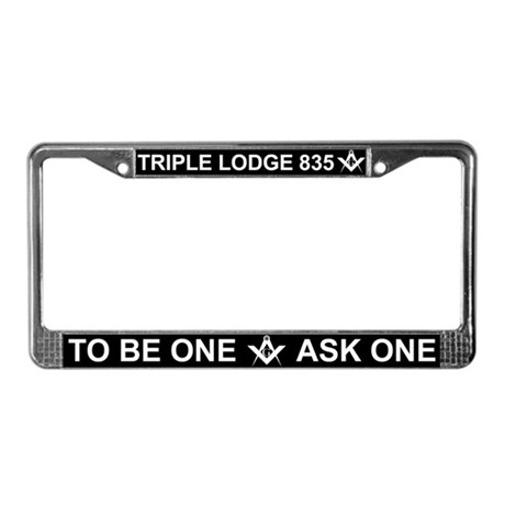 Triple Lodge White Letter License Plate Frame