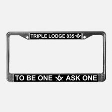 Triple Lodge White Letter License Plate Frame