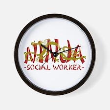 Dragon Ninja Social Worker Wall Clock