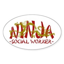 Dragon Ninja Social Worker Oval Decal