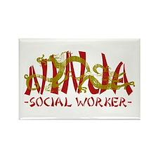 Dragon Ninja Social Worker Rectangle Magnet