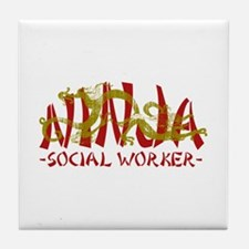 Dragon Ninja Social Worker Tile Coaster