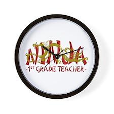 Dragon Ninja 1st Grade Tchr Wall Clock