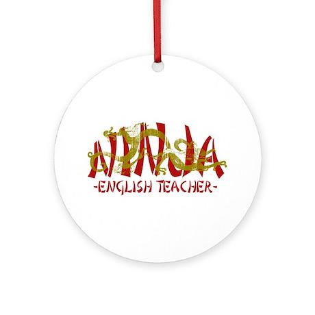 Dragon Ninja English Teacher Ornament (Round)