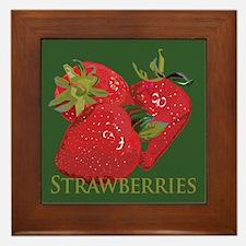 Fresh Summer Strawberries Framed Tile