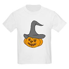 Pumpkin in Halloween Hat Kids T-Shirt