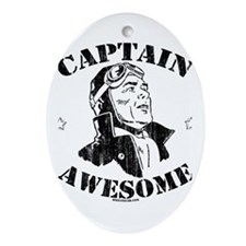 Captain Awesome Oval Ornament