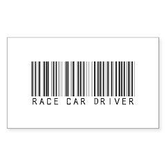 Race Car Driver Barcode Rectangle Decal