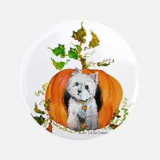 "Autumn Pumpkin Westie 3.5"" Button (100 pack)"