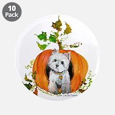 "Autumn Pumpkin Westie 3.5"" Button (10 pack)"