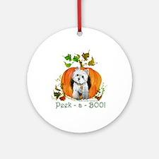 Autumn Pumpkin Westie Ornament (Round)