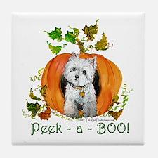 Autumn Pumpkin Westie Tile Coaster