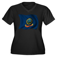 Wavy Idaho Flag Women's Plus Size V-Neck Dark T-Sh