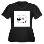 Wool - Yarn Fiber Women's Plus Size V-Neck Dark T-