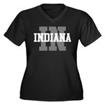 IN Indiana Women's Plus Size V-Neck Dark T-Shirt