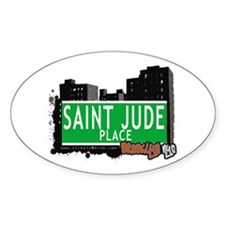 SAINT JUDE PLACE, BROOKLYN, NYC Oval Decal