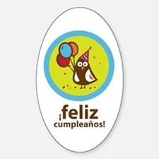 Spanish Happy Birthday Oval Decal