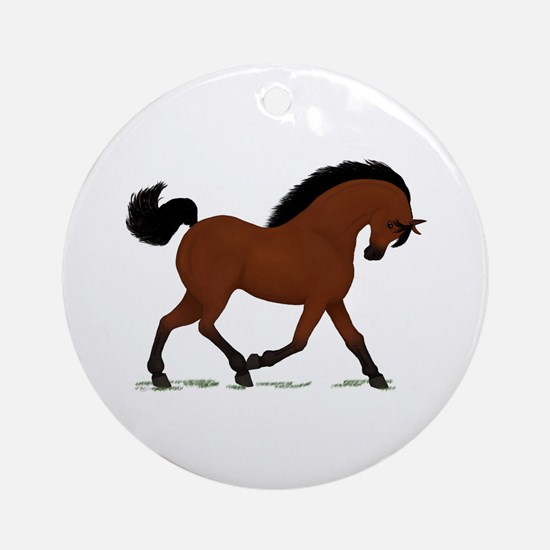 Bay Trotting Horse Pony Ornament (Round)