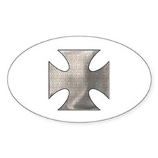 IRON BLADE CROSS (BIKER LOOK) Oval Decal