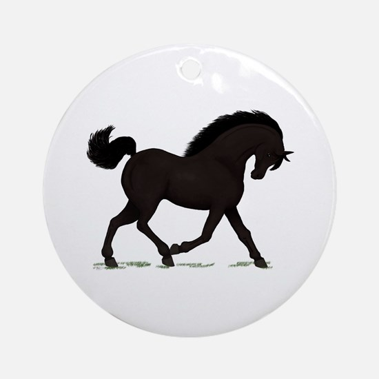 Trotting Black Horse Pony Ornament (Round)