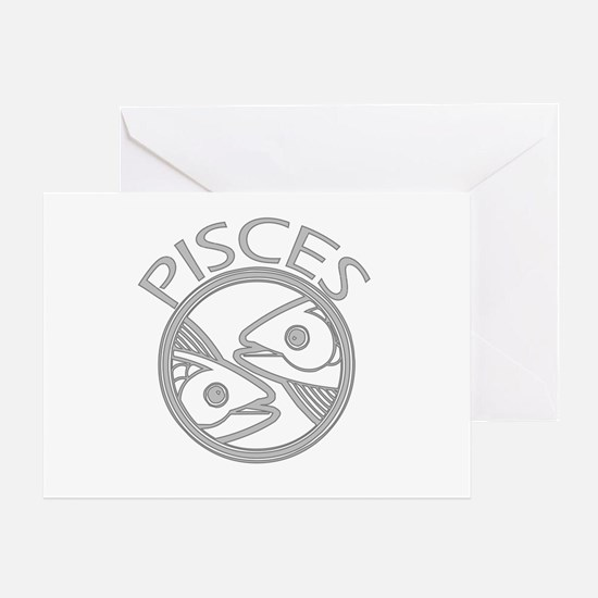 Gray Pisces Greeting Card