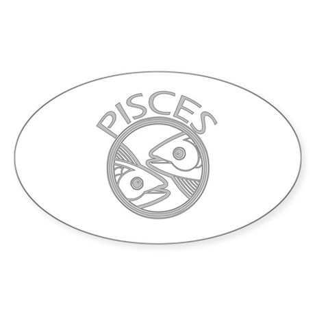 Gray Pisces Oval Sticker