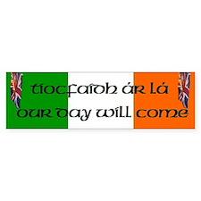 Tiocfaidh Ar Lá Burning Union Jack Bumper Bumper Sticker