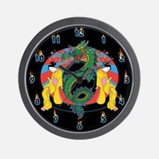 Geisha Dragon Wall Clock