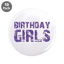 """Birthday Girls (purple) 3.5"""" Button (10 pack)"""