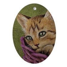 Christmas Holiday Kitten Oval Ornament