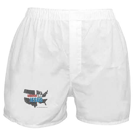 Liberal like Jesus - USA Grey Map Boxer Shorts