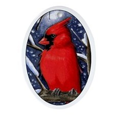 Cardinal Christmas Holiday Oval Ornament