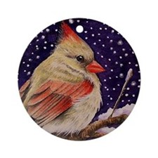Cardinal Christmas Ornament (Round)