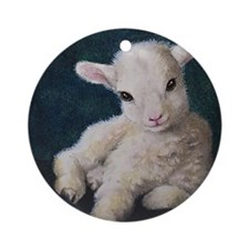 Baby lamb Christmas Ornament (Round)