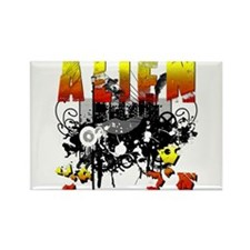 Alien Vector Design 3 Rectangle Magnet