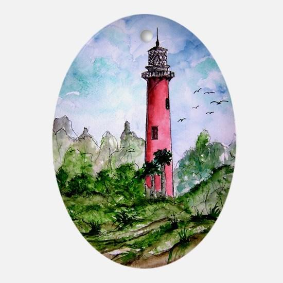 jupiter florida lighthouse fi Oval Ornament