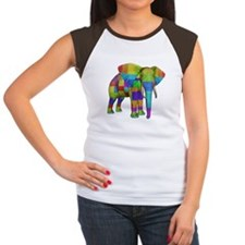 Rainbow Elephant Women's Cap Sleeve T-Shirt